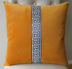 """Repetitive Classic Motif in any Medium - Greek Key (see other motif examples on this board + """"Kindly Repeat That, Please"""" board Diy Pillows, Sofa Pillows, Decorative Pillows, Cushions, Throw Pillows, Pillow Crafts, Velvet Pillows, Couch, Room Accessories"""