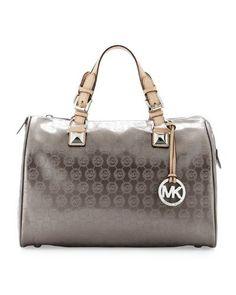 15215fd51621 Michael Michael Kors Grayson Large Satchel Bag - Light Gray - - Product  Description: Michael Kors Grayson large shoulder satchel handbag made from  ...