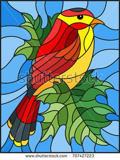 Illustration in the style of stained glass with a beautiful red bird  on a  background of branch of maple tree and sky