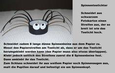 Spinnenteelicht Halloween, Character, Paper Strips, Spiders, Kids, Halloween Stuff, Lettering, Spooky Halloween