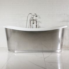 'The Nuneaton' Cast Iron French Bateau Tub with Misty Polished Stainless Steel Exterior with Rogeat Base plus Drain Steam Showers Bathroom, Shower Tub, Small Bathroom, Master Bathroom, Bathroom Tubs, Bathroom Inspo, Bathroom Ideas, Freestanding Cast Iron Tub, Cast Iron Bathtub
