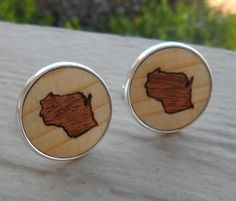 Wood Inlay WISCONSIN State Cufflinks. Laser Engraved. Wedding, Men's, Groomsmen Gift, Dad. Custom Orders Welcome. Green Bay, Packers by TreeTownPaper on Etsy