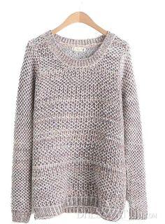 US$23.99 Comfortable Coffee Loose Round Neckline Knit Sweater . #Knitwear #Comfortable #Knit #Neckline