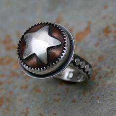 Independence Day, Sterling silver and copper ring by Kira Ferrer