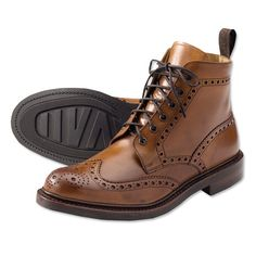 These attractive leather brogues from Loake offer comfort and distinctive style. Loake Shoemakers have been producing fine, handmade men's leather brogues in Kettering, Northamptonshire, England since Mens Brogue Boots, Mens Shoes Boots, Men's Shoes, Shoe Boots, Dress Shoes, Men Dress, Black Brogues, Leather Brogues, Leather Boots