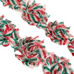 "White w/ green & red Christmas stripe print 1.5"" petite shabby chiffon rose trim"