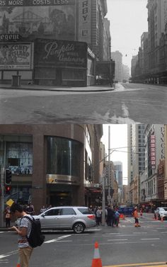 Looking north up George Street from Market Street c1944 > 2016. [State Library of NSW > Phil Harvey. By Phil Harvey]