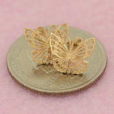 14k Yellow Gold Filigree Butterfly Push Back Stud Earrings