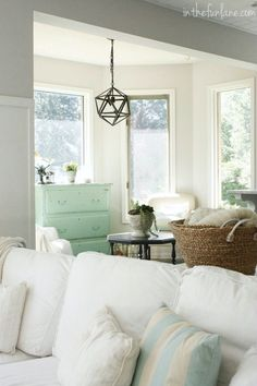 Love the pillows, dresser, and baskets