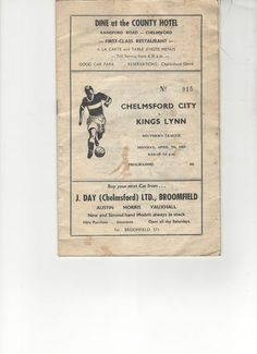 Chelmsford City v Kings Lynn FC  Programme 1969