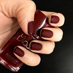 #decorative #matte #glossy #burgundy #bordo #dark #wine #color #amateur #manicure #bourjous #polish #nail #design