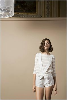 Delphine Manivet Bridal Collection 2014   3/4 Length Sleeve Striped Top With Bateau Neckline Paired With Crepe Romper Featuring Cris Cross Straps & Bow Detail****