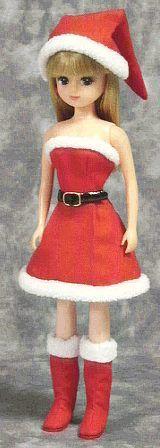 クリスマスワンピース(リカちゃん) 「パプペポ」着せ替え人形の手作り服の作り方 - http://papupepo.aikotoba.jp/doll/ht/christmas_o_p_lc.html
