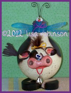 BRISKET pdf epattern cow w dragonfly recycled light bulb prim chick acrylic painting pattern 794