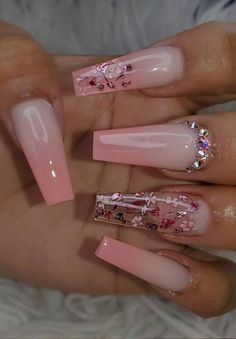Likes, 21 Comments - Nail Inspo Bling Acrylic Nails, Acrylic Nails Coffin Short, Summer Acrylic Nails, Best Acrylic Nails, Bling Nails, Swag Nails, Pink Coffin, Coffin Nails Ombre, Grunge Nails