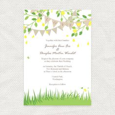 garden fete wedding invitation spring bunting  by idoityourself, $32.00 - With coral colored flowers instead of yellow.  I think this is perfect!