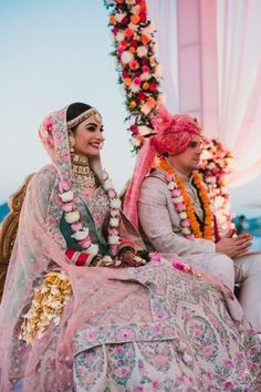 An Elegant Udaipur Wedding With Pastel Theme & A Poolside Mandap Indian Wedding Couple, Indian Bride And Groom, Bride Groom Photos, Asian Bride, Indian Bridal Outfits, Bridal Dresses, Bridal Looks, Bridal Style, Indian Wedding Photography Poses