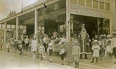 Father Christmas visits Blackheath NSW Australia 1924. Sutton Bros was located in Govetts Leap Rd near Post Office