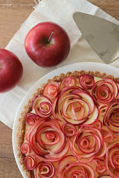 Apple Rose Tart with Walnut Crust & Maple Custard by bakingamoment #Tart #Apple