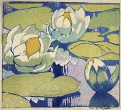 Water Lilies - woodcut, about 1938 - Mabel Royds (1874-1941, U.K.)