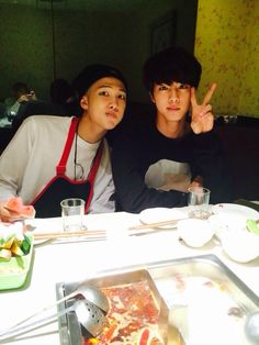 NamJin - OMG they're like parents making their child (Jungkook) take a picture of them. They're goals