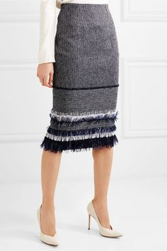 Roland Mouret | Cotton-blend bouclé-tweed and crepe skirt | NET-A-PORTER.COM