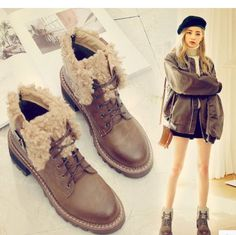 Womens Fur Lined Lace Up Leather Chunky Heel Ankle Boots Vintage Casual Shoes