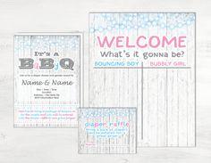 Gender Reveal Party Invitation Kit, Gender Reveal BBQ Invitation, Gender Reveal Guess Book, Gender Reveal Diaper Raffle, Gender Reveal Party by MathisDesigns on Etsy
