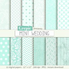 "Wedding digital paper: ""MINT WEDDING"" romantic mint wedding bridal patterns for wedding invites save the date cards scrapbooking Grepic 4.90 USD"