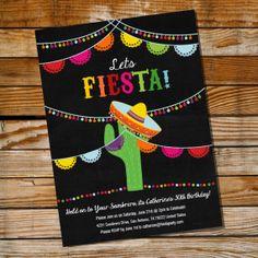 Mexican Fiesta Birthday Invitation. Let's Fiesta!