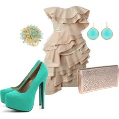 A night out with a pop of color, created by melissacherise on Polyvore