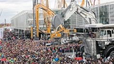 Visitors during a demonstration at the Liebherr booth. Photo courtesy of Messe Munchen.