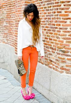 Love the orange jeans and white top