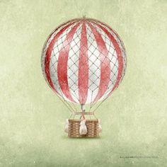 Amazon.com: Hot Air Balloon Classic Vintage Children's Nursery Print: Home & Kitchen