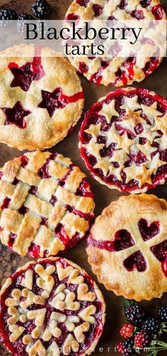 Blackberry Tarts juicy ripe blackberries nestled in a buttery flaky crust for an iconic all American summer dessert. Köstliche Desserts, Delicious Desserts, Dessert Recipes, Buttery Flaky Crust, Elegante Desserts, Summer Pie, Berry Tart, Cupcakes, Fruit Pie