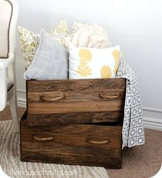 Vintage Wood Crates - Shelley from The House of Smiths was on the hunt for some unique storage boxes with a vintage feel, but, alas, everything she found just wasn't the size or color she needed. Luckily, it was simple to whip up a few that met the exact specifications.  Via : http://knockoffdecor.com/vintage-wood-crates/