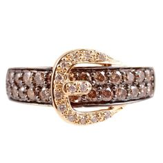 LeVian Brown Diamond Gold Buckle Ring 1