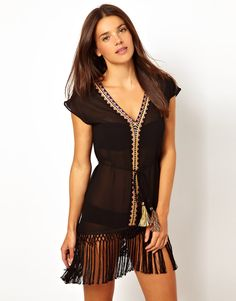 Warehouse Fringed Beach Dress