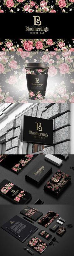 Bloomerangs Coffee Bar Logo and Branding System Brand Identity Design, Graphic Design Branding, Corporate Design, Logo Design, Corporate Identity, Visual Identity, Web Design, Creative Design, Print Design