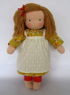 """Yarn hair style might work on a doll that needs dried out Spanish Moss hair replaced!!!  Eva 16"""" waldorf inspired doll"""