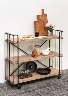 Albert Baker's Shelf — Loft Furniture New Zealand Bakers Rack, Loft Furniture, Industrial Chic, Wooden Shelves, Steel Frame, Your Space, Storage, Zero, Shelf