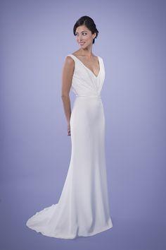 Kitty - Draped V-neck Silk Crepe Wedding Gown Silk Crepe, Silk Chiffon, Bridal Collection, Dress Collection, Bridal Gowns, Wedding Gowns, Wedding Dress Necklines, Custom Wedding Dress, Mom Dress
