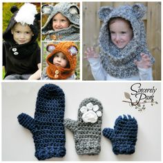 #SincerelyPam #crochet patterns. Woodland Friends Hooded Cowl, Un'bear'ably Cute Cowl and Un'bear'ably Cute Mittens. www.ravelry.com/designers/sincerely-pam.