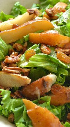 Autumn Pear Salad with Pecans + Golden Raisins