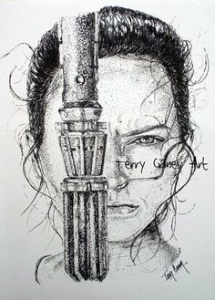 Rey Skywalker in Black and White by TerryGaneyArt on Etsy