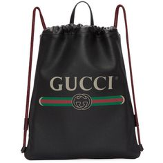 Gucci Black Leather Logo Drawstring Backpack ($1,830) ❤ liked on Polyvore featuring men's fashion, men's bags, men's backpacks, black, mens drawstring backpack, gucci mens backpack, mens leather backpack and mens leather drawstring backpack
