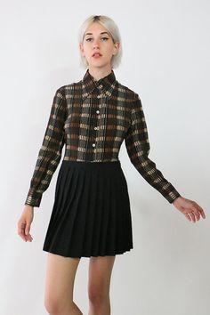 70s minimalist patterned long sleeve button blouse, shirt, collar by youngandukraine