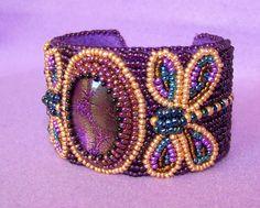 Brilliant Dragonflies - Bead Embroidered Bracelet. $85.00, via Etsy.
