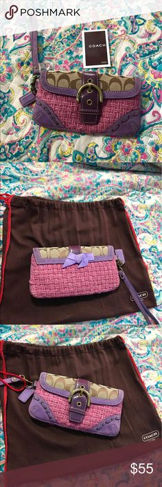 Small purple/pink Coach wristlet! Unique authentic Coach wristlet! Combination of quilted fabric & leather! Never worn. Nice pop of color to add to any outfit.. Coach Bags Clutches & Wristlets