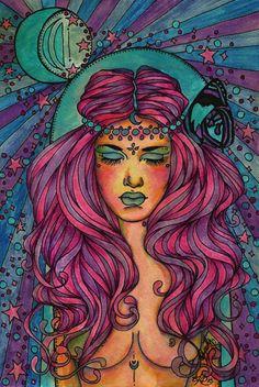 """Moon Bathing"" Ink and Watercolour. Arte Hippy, Fashion Illustration Hair, Lsd Art, Psychadelic Art, Weird Pictures, Surreal Art, Hair Art, Art Sketchbook, Trippy"